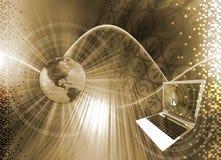 Zwart-wit computertechnologiewereld - Stock Afbeeldingen