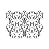 zwart-wit contour met abstract hexagon patroon Royalty-vrije Stock Foto
