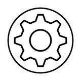 Zwart-wit contour met cirkelkader met pignon royalty-vrije illustratie