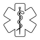 Zwart-wit contour met gezondheidssymbool met ster van het leven vector illustratie
