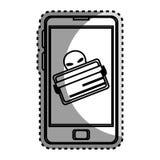 Zwart-wit contoursticker met stealing creditcard in celtelefoon Stock Afbeeldingen