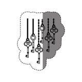 zwart-wit contoursticker met uitstekende sleutels die op kettingen hangen vector illustratie