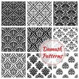 Zwart-wit damast bloemen naadloos patroon vector illustratie