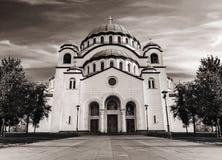 Zwart-wit de catedral christen van Heilige Sava royalty-vrije stock foto's