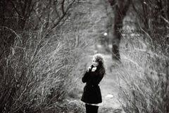 Zwart-wit de herfstportret Stock Foto's
