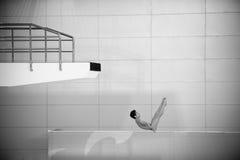 Zwart-wit: de het duiken concurrentie Stock Fotografie