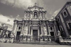 Zwart-wit de kathedraal van Catanië Royalty-vrije Stock Foto's