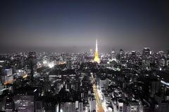 Zwart-wit de nachthorizon van Tokyo met hoogtepunten Royalty-vrije Stock Afbeeldingen