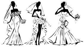 Zwart-wit de vrouwensilhouet van de huwelijksmanier Royalty-vrije Stock Afbeeldingen