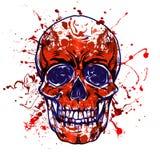 Zwart-wit die schedel op witte achtergrond wordt geïsoleerd royalty-vrije illustratie