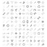 Zwart-wit die vector met tekeningspijlen wordt geplaatst vector illustratie