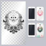 Zwart-wit dierlijk hondhoofd Vectorillustratie voor telefoongeval Stock Fotografie
