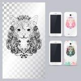 Zwart-wit dierlijk hondhoofd Vectorillustratie voor telefoongeval Stock Foto