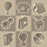 Zwart-wit diverse pictogrammen Stock Foto