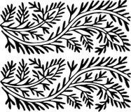 Zwart-wit doorbladert ornament royalty-vrije stock fotografie