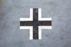 Zwart-wit Duits kruis van Wereldoorlog II Stock Afbeeldingen