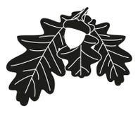 Zwart-wit eiken taksilhouet stock fotografie