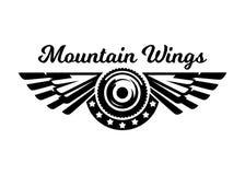 Zwart-wit embleem, wiel en vleugels Berg het biking, extreme sporten Vector illustratie royalty-vrije illustratie
