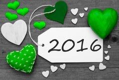 Zwart-wit Etiket met Groene Harten, Tekst 2016 Royalty-vrije Stock Afbeelding
