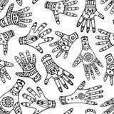 Zwart-wit etnisch hand naadloos patroon Vector Illustratie