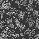 Zwart-wit etnisch hand naadloos patroon Stock Illustratie