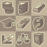 Zwart-wit financiënpictogrammen Royalty-vrije Stock Afbeeldingen