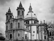 Zwart-wit foto van de kerk van de Onze Dame van Sameiro, in Braga royalty-vrije stock fotografie