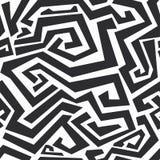 Zwart-wit gebogen lijnen naadloze textuur Stock Afbeelding
