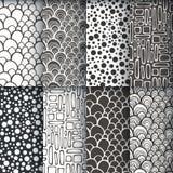 Zwart-wit geometrisch naadloos patronense Stock Afbeeldingen