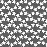 Zwart-wit geometrisch naadloos vectorpatroon met sterren Stock Afbeeldingen