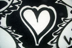 Zwart-wit Geschilderd Hart Stock Afbeelding