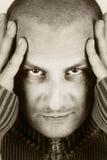 Zwart-wit gestemd portret - concentratie Stock Afbeelding