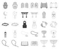 Zwart-wit godsdienst en geloof, overzichtspictogrammen in vastgestelde inzameling voor ontwerp Toebehoren, de voorraadweb van het stock illustratie