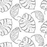 Zwart-wit grafisch tropisch bladeren naadloos patroon Stock Afbeeldingen