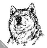 Zwart-wit graveer wolf Royalty-vrije Stock Afbeelding