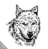 Zwart-wit graveer wolf Stock Foto