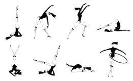 Zwart-wit Gymnastiek- Geplaatste Meisjes stock illustratie