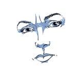 Zwart-wit hand-drawn portret van wit-huid twijfelachtige vrouw, Stock Foto
