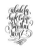 Zwart-wit hand het van letters voorzien alfabetontwerp, met de hand geschreven brus Royalty-vrije Stock Foto