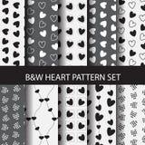 Zwart-wit hart naadloos patroon Stock Afbeelding