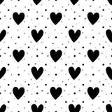 Zwart-wit harten naadloos patroon Stock Foto