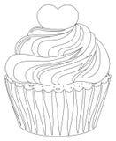 Zwart-wit het hartbovenste laagje van de cupcakeaffiche Stock Afbeelding