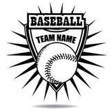 Zwart-wit het kentekenschild van het honkbalpictogram Royalty-vrije Stock Afbeeldingen