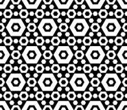 Zwart & wit hexagonaal geometrisch naadloos patroon Stock Afbeeldingen