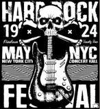 Zwart-wit hipster uitstekend etiket van de rotsaffiche grunge, kenteken, FL Royalty-vrije Stock Afbeeldingen