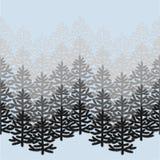 Zwart-wit horizontaal naadloos patroon met Kerstbomen op blauw royalty-vrije illustratie