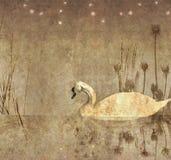 Zwart-wit illustratie van een zwaan Royalty-vrije Stock Foto