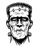 Zwart-wit illustratie van Frankenstein-hoofd stock illustratie