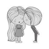 Zwart-wit jongens kussend meisje in wang Stock Afbeeldingen