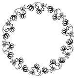 Zwart-wit kader met bloemensilhouetten Royalty-vrije Stock Foto
